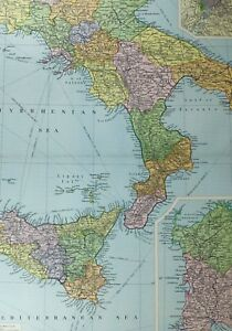 Large Map Of Italy.Details About 1921 Large Map Italy South Sicily Rome Sardinia Molise Basilicata Catania