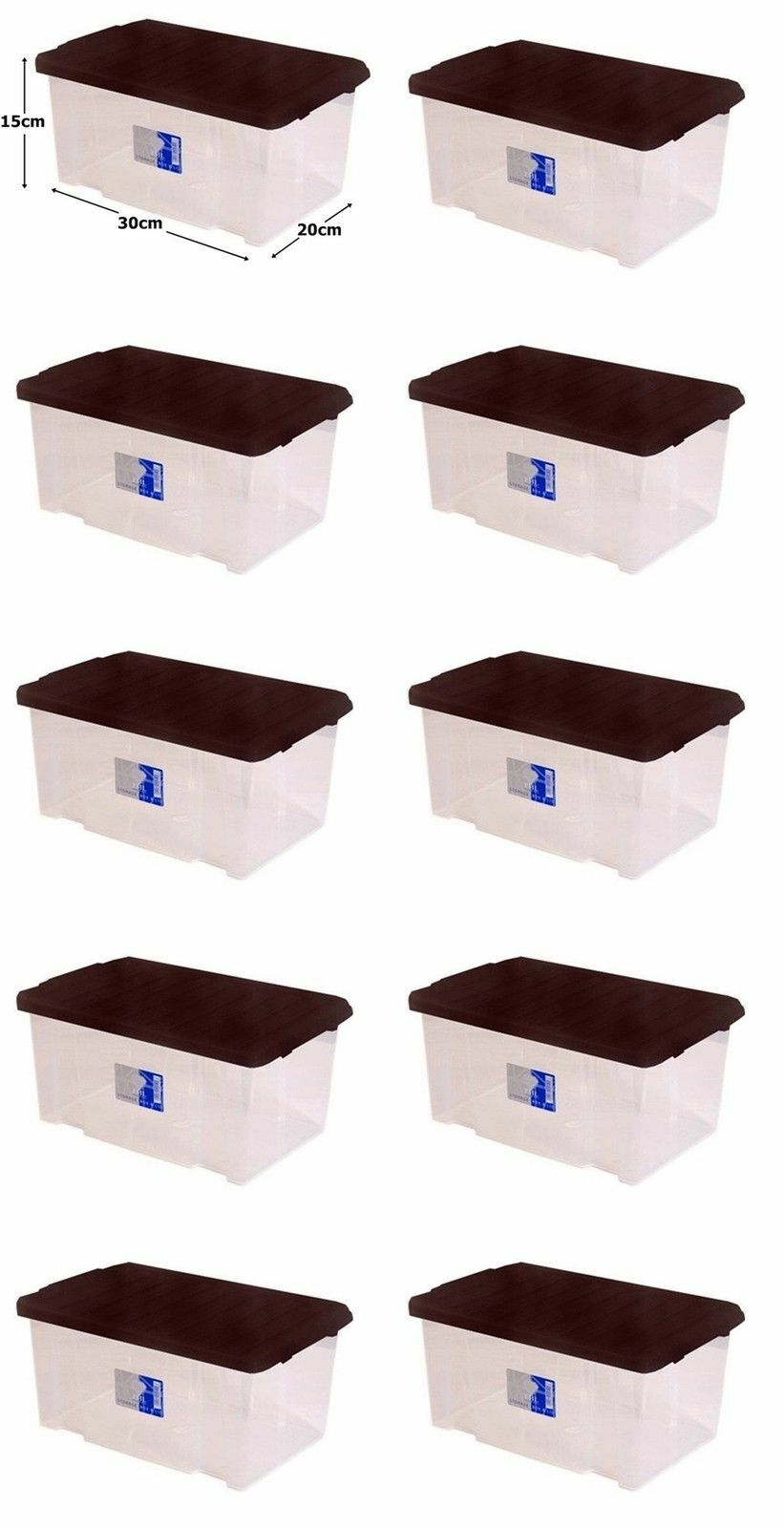 10 x 7L Clear Plastic Small Storage shoes Toys Tools Craft Supplies Box with Lid