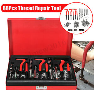 88Pc Thread Repair Kit HSS Drill Helicoil Metric Set Heli Coil Tap Insert Case