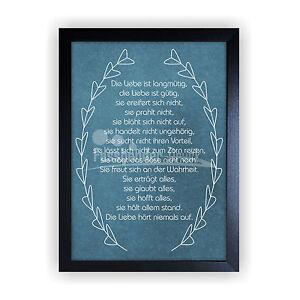 kunstdruck im bilderrahmen spruch korintherbrief geschenk liebe hochzeit kd4 ebay. Black Bedroom Furniture Sets. Home Design Ideas