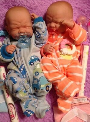 """FIRST TEARS REBORN BABY PREEMIE SIZED 14/"""" GIRL DOLL W CLOTHING BOTTLES PACIFIER"""