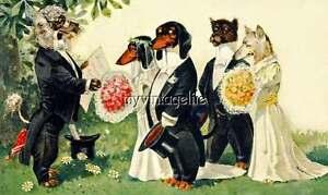 Vintage-DACHSHUND-DOG-Wedding-Party-Quilting-Fabric-Block-5x7
