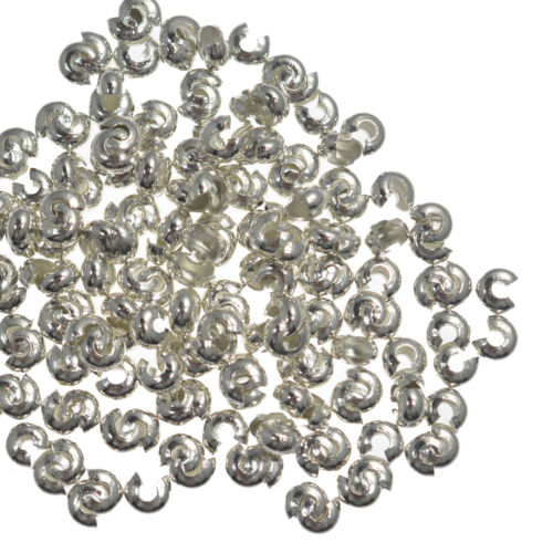 50 Crimp Bead Covers 5mm Silver Gold Gunmetal Jewellery Making Findings