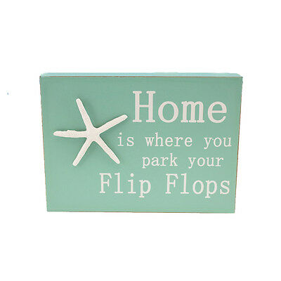Flip Flops Nautical 3D Wall Box Plaque Wood Sign Starfish Coastal Beach Decor
