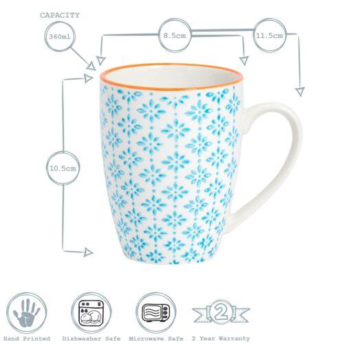 360ml Tea Coffee Mug Patterned Porcelain Restaurant Cup Blue Orange