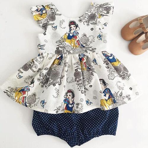 UK STOCK Toddler Kid Baby Girl Summer Outfits T-shirt Tops+Short Pants Clothes