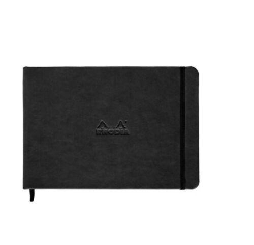 Black Leatherette Cover 5.5 x 8.25 Rhodia Webnotebook Blank Landscape