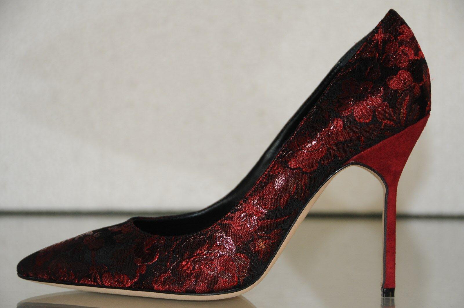 Nuevo De De De Manolo Blahnik Bb relaciones 105 Ruby Rojo Borgoña Negro Brocade Suede zapatos 40.5  Obtén lo ultimo
