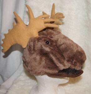 23575dff728 MOOSE HAT antlers plush ADULT brown elk halloween costume SLIGHTLY ...