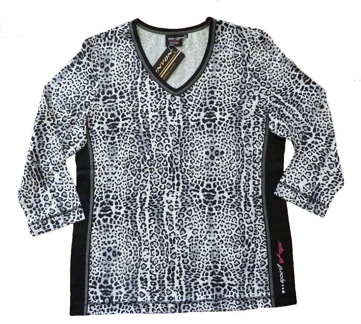 Canyon T-Shirt T-Shirt Canyon Snowleo Schlankmacher-T-Shirt V-Ausschnitt weiss-schwarz-grau 152169