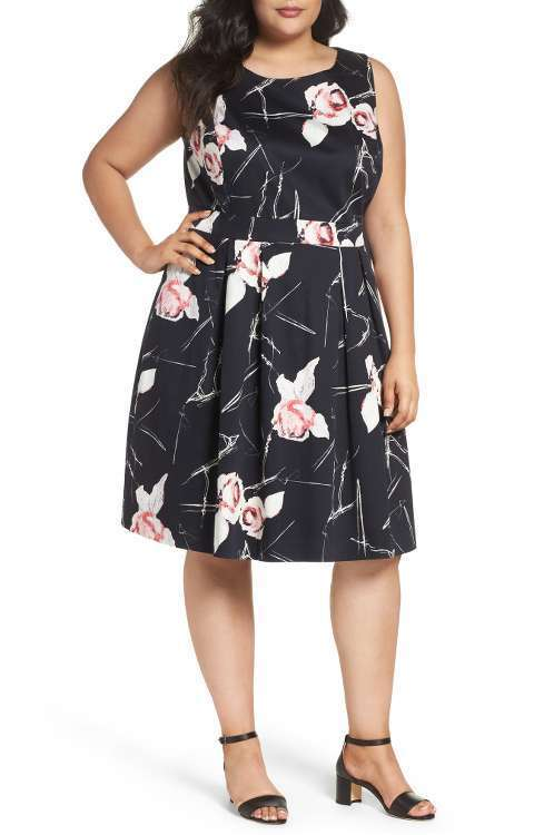 SEJOUR Floral Fit & Flare Dress (size 24W)