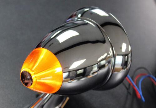 NEW Talbot-Style Chrome Bullet Side Mirrors w//LED Turn Signal Fender Door Mount