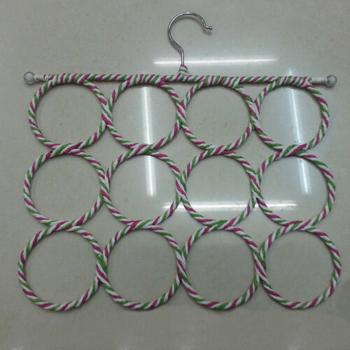 12 Holes Ring Rope Scarf Holder Hanger Shawl Storage Display Hook Rack
