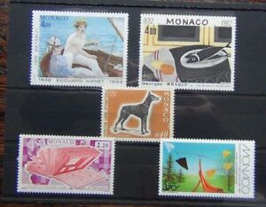 Monaco-1970-Dog-Show-1987-Sculpture-1987-Stamp-Day-sets-MNH