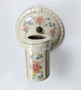 Vintage-Antique-Porcelain-Sconce-Wall-Fixture-Light-Bathroom-Floral