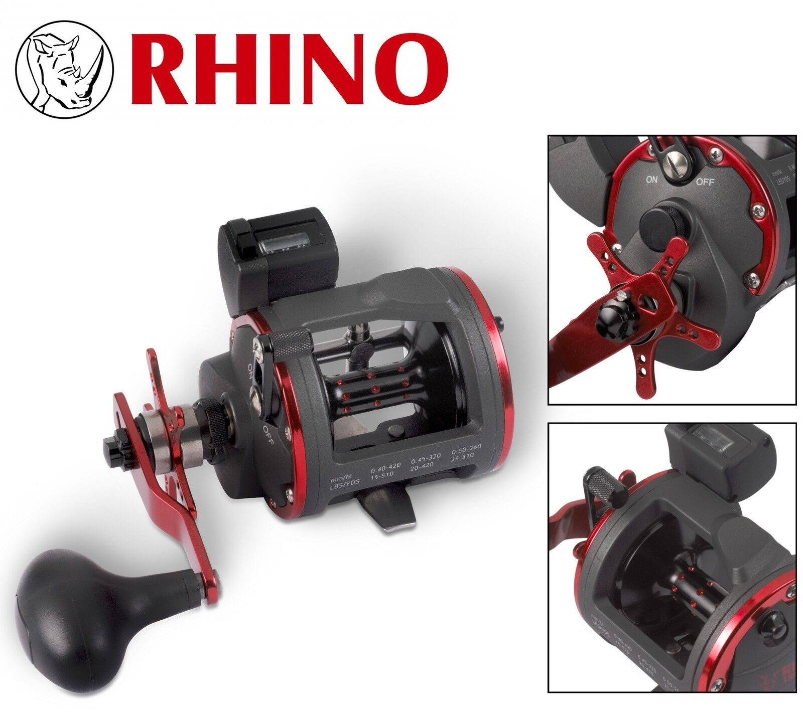 Rhino Trolling 430 LH Rolle Multirolle, Angelrolle zum Meeresangeln, Meeresrolle