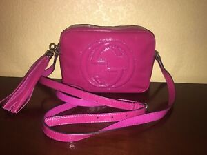Authentic Gucci Soho Disco Patent Leather Shoulder Crossbody Tassel Camera Bag Ebay