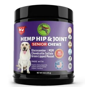 Hemp Mobility Hip & Joint Supplement for Senior Dogs Chondroitin Glucosamine 90c