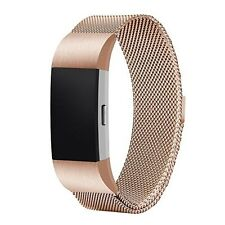 Replacement Band Milanese Loop Magnetic Closure Clasp Fitbit Charge 2  Rose Gold