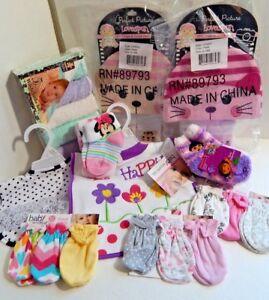 3ec5a62900a Newborn Baby Girl Mixed Washcloths Caps Socks Bibs Scratch Mittens ...