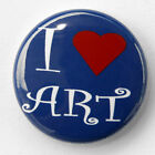 "I LOVE ART - Novelty Button Pinback Badge 1"" heart"