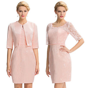Plus Size Vintage LACE Bridesmaid Dresses Prom Gowns +Free Jacket Evening SHORT