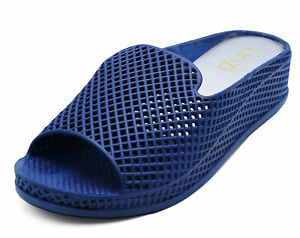 LADIES-NAVY-SLIP-ON-OPEN-TOE-COMFY-JELLY-MULES-WEDGES-SLIDER-SANDALS-SHOES-4-8