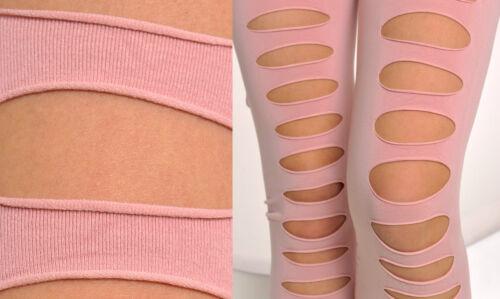 3368 Modische Damen Leggings Leggins Hose rosa ripped Gr 34 36 38 XS S Mod