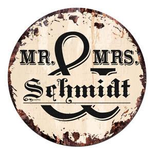 CPF-0171-MR-amp-MRS-SCHMIDT-Circle-Sign-Rustic-Tin-Bar-Home-Man-Cave-Gift