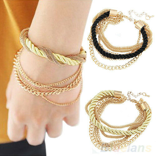 Women Luxury Elegant Handmade Braided Rope Chain Multilayer Bracelet Magic