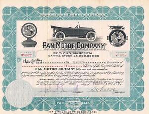 Pan Motor Company Stock Certificate 5 Shares St Cloud Mn