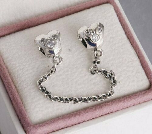 HEART OF MICKEY MOUSE SCREW ON SAFETY CHAIN New Genuine 925 Silver DISNEY