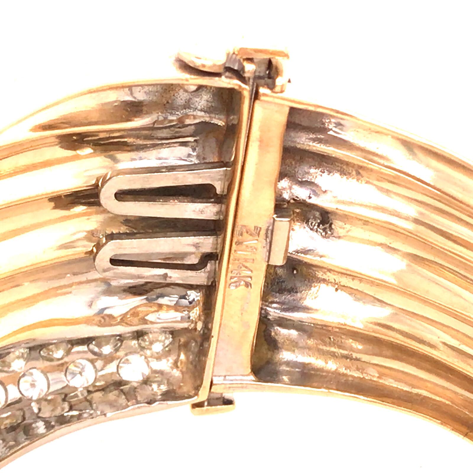 14K Wide Diamond Twist Cuff Two-Tone Gold - image 8