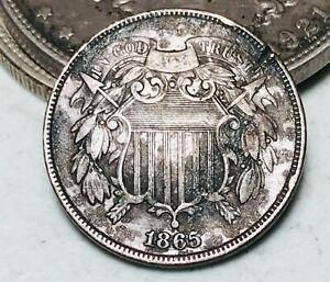 1865 Two Cent Piece 2C High Grade Details Civil War Era US Copper Coin CC6036