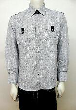 Men's DESIRE COLLECTION white long sleeve button down shirt size L DCC-89 #9