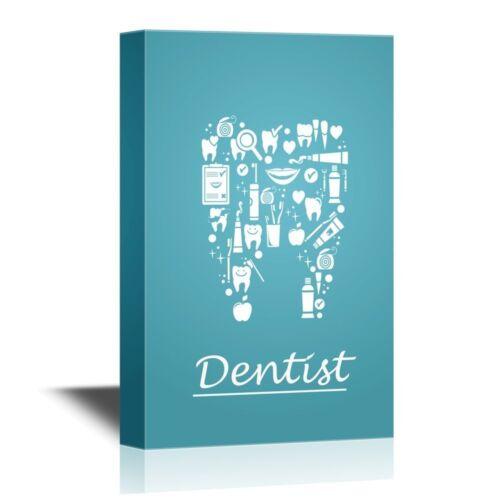 Wall26 Teeth Care Concept 16x24 inches Dentist Canvas Wall Art Home Decor