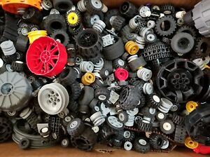LEGO-Bulk-lot-WHEELS-1-2-lb-pound-Tires-Axles-Car-Vehicle-Lots-of-Parts-Pieces