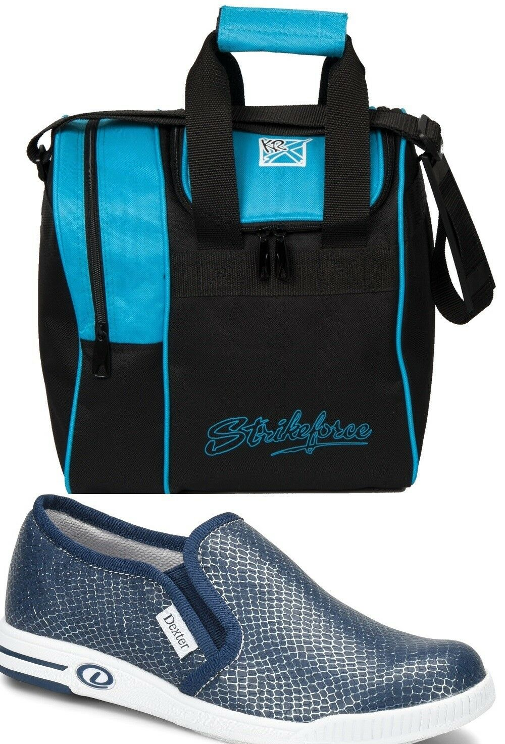Womens Dexter SUZANA  Slip On Bowling shoes bluee Sizes 6-11 & Aqua 1 Ball Bag