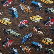 BonEful Fabric FQ Cotton Quilt Brown BIG TIRE Monster TRUCK Mud Track Race Car L