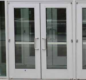 Image is loading WIDE-STILE-ALUMINUM-STOREFRONT-DOORS-SILVER-6-0- & WIDE STILE ALUMINUM STOREFRONT DOORS SILVER 6-0 x 7-0 WITH GLASS | eBay