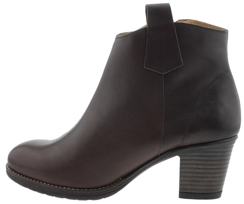 Eva Lopez botas botines de cuero marrón con moca y 180110