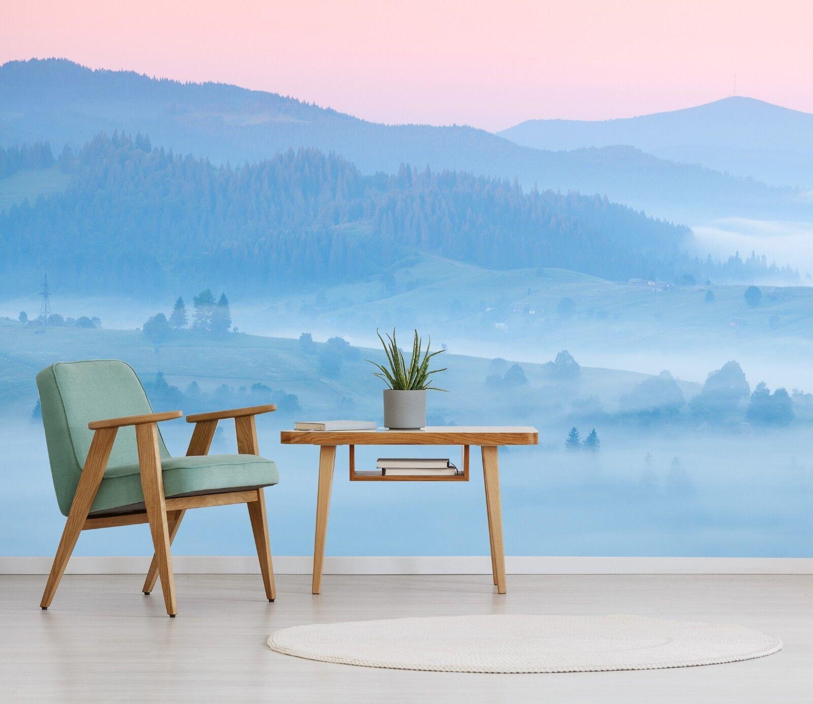 3D blue Berge pink 791 Tapete Wandgemälde Tapete Tapeten Bild Familie DE Lemon