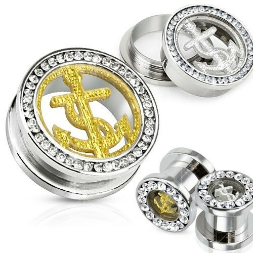 1 PAIR 316L STAINLESS ANCHOR SCREW FIT TUNNELS GLITTER /& GEMMED RIM GOLD//SILVER