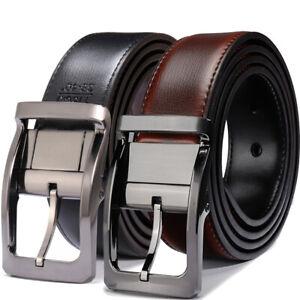 Men-039-s-Genuine-Leather-Dress-Belt-Reversible-Belt-for-Men-Black-Brown-and