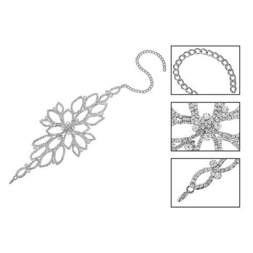 Silver Color Crystal Bracelet Floral Bridal Ankle Bracelet Leg Arm Snake Chain L