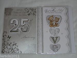 Anniversary card mum dad silver wedding th years cute trad
