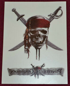 3 Lot Disney Pirates Of The Caribbean Skull Temporary Pirate Tattoo