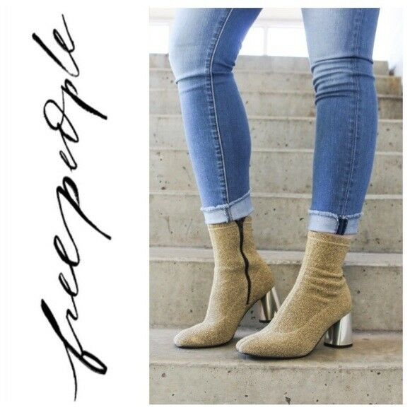 Free People NIB Size 9  Euro 39 gold Modelo Bootie Boot  NEW