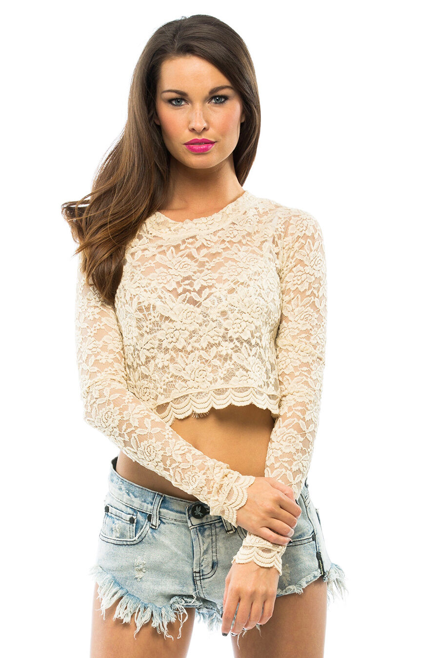 SHOW ME YOUR MUMU NWT Lace Crop Top - Lancey Lace Crop Top in Ivory Größe S or M
