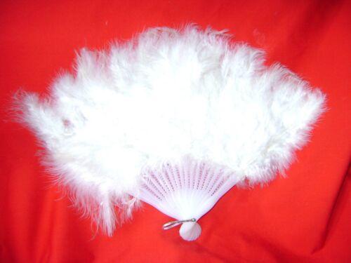 NEW WHITE FEATHER FAN FANCY DRESS BURLESQUE FLAMENCO DANCING 40 x 26cm S